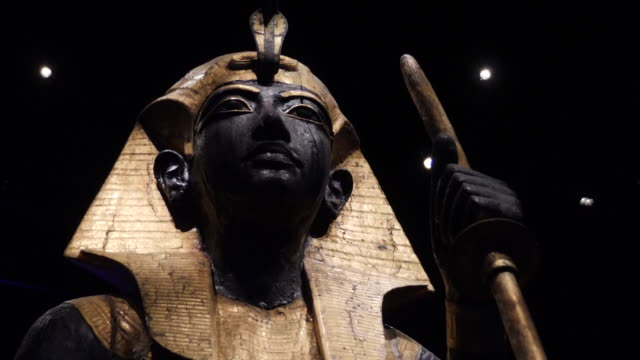 the artefacts from the tomb of king tutankhamun will go on display in britain today. they were uncovered by a team of british explorers in 1922.... - egypt stock videos & royalty-free footage