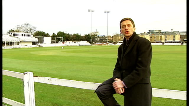 Fifth Test day three ENGLAND Essex Chelmsford Ford County Ground EXT Reporter to camera Setup shots of Paul Grayson batting in nets and interview SOT...