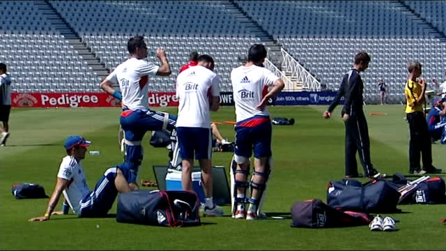 Teams net practice Alistair Cook watching team practice / players in nets practicising batting / cricket ground / England players and coaching team...