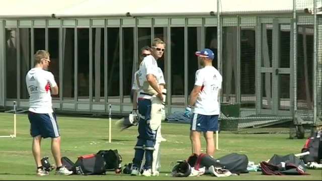 teams prepare for 2nd test at lords england lords cricket ground ext various of england players along during training session in nets - lords cricket ground stock videos and b-roll footage