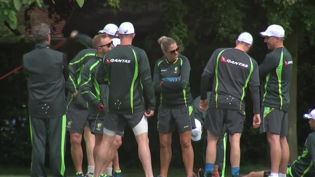 australia training england hertfordhire rickmansworth merchant taylor's school ext various of australia cricket team warming up on pitch - cricket team stock videos and b-roll footage
