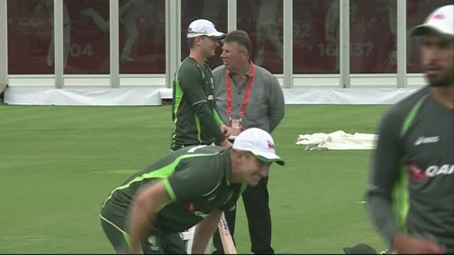 australia training session england london lord's cricket ground ext australia team nets practice / michael clarke / darren lehmann with shane watson... - cricket stump stock videos & royalty-free footage