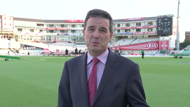 Fifth test Day 2 Reporter to camera/ England fan wearing strw boater hat with England ribbon Vox pops/ Cricket fans leaving The Oval at end of day's...