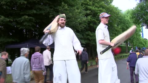 first test: day 1; wales: cardiff: swalec stadium: ext cricket supporters on stilts outside swalec stadium ahead of first day's play in first ashes... - day 1 stock videos & royalty-free footage