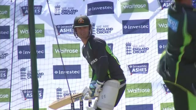 the ashes 2015 preview; ext reporter to camera australian team practicing batting in nets michael clarke catching ball during training session int... - ashes test stock videos & royalty-free footage