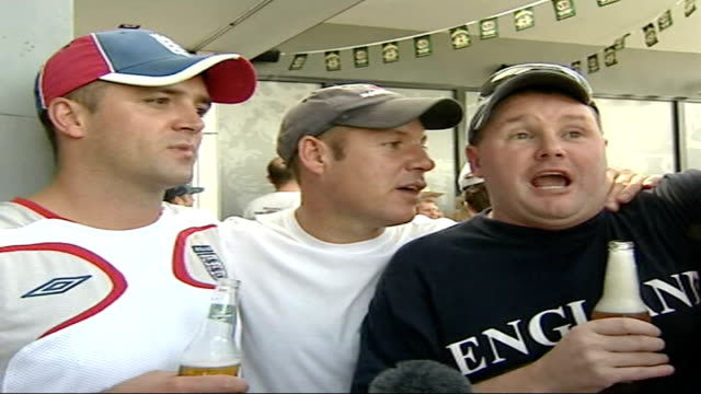 england lose the first test in brisbane english cricket supporters singing and drinking sot vox pops england cricket fans england fans dressed in red... - test cricket stock videos & royalty-free footage