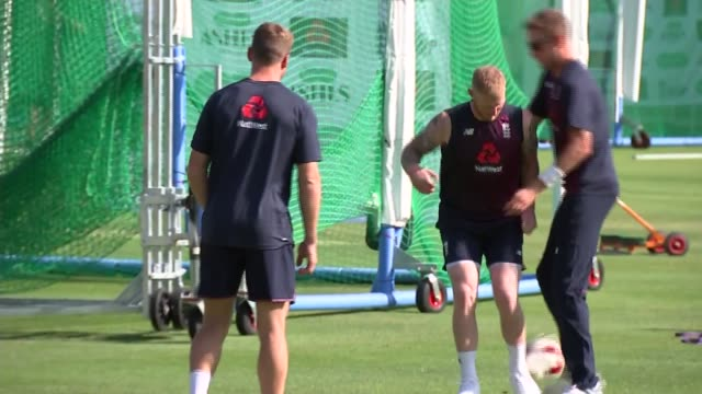 england team training gvs england london lord's cricket ground ext england team arriving for training session / team exercising and stretching... - lords cricket ground stock videos and b-roll footage