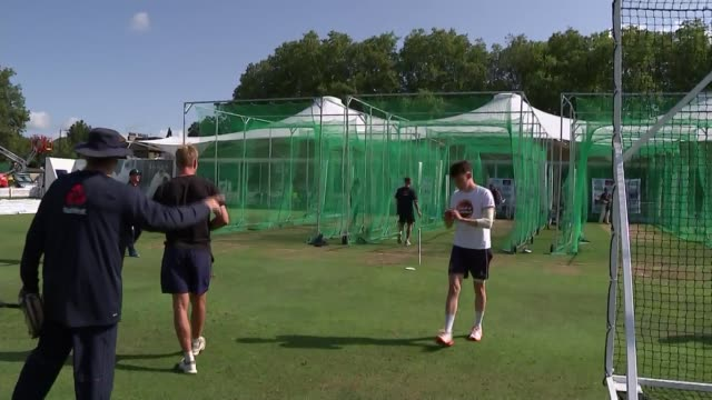 england team training gvs england london lord's cricket ground ext various shots of england cricket team putting on pads and protective padding in... - lords cricket ground stock videos and b-roll footage