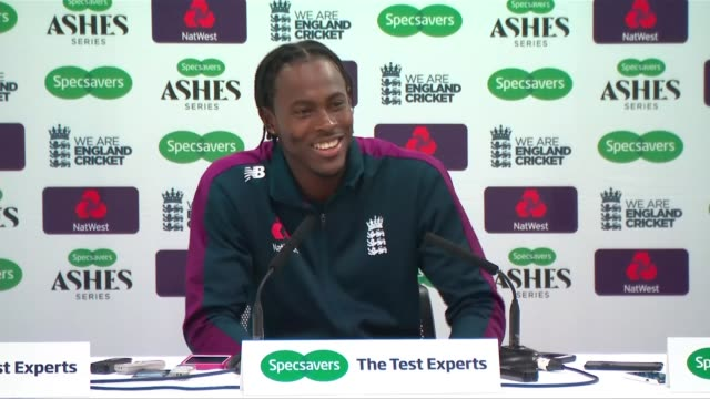 jofra archer confident ahead of second ashes test england london lord's cricket ground int jofra archer press conference sot reporter to camera sot - test cricket stock videos & royalty-free footage