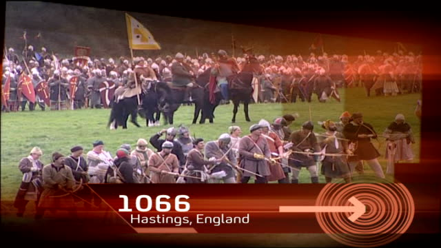 poor performance at second test r14100601 england east sussex battle general views of battle of hastings reenactment dissolve to - battle of hastings stock videos & royalty-free footage