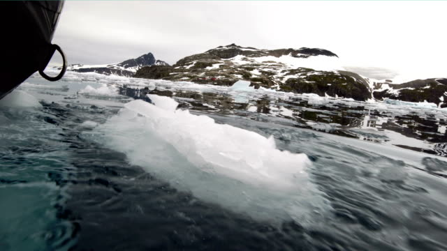 the assault boat patrolled on wilhemina bay - south pole stock videos & royalty-free footage