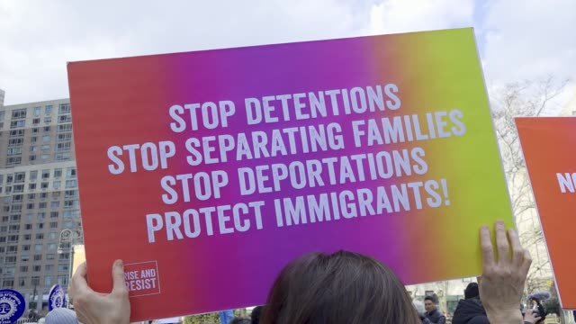 stockvideo's en b-roll-footage met the association of legal aid attorneys organized a rally and march at foley square in downtown manhattan for months legal aid attorneys public... - deportation