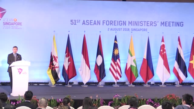 the association of southeast asian nations announces that it has come up with a single draft text for negotiating territorial disputes in the south... - association of southeast asian nations stock videos & royalty-free footage