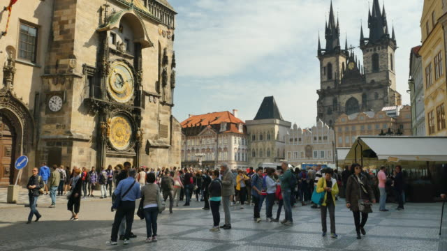the astronomical clock, old town square, prague - prague old town square stock videos and b-roll footage