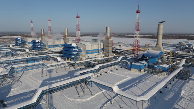 vídeos de stock e filmes b-roll de the atamanskaya compressor station part of power of siberia gas pipeline operated by gazprom pjsc near svobodny in amur region russia on wednesday... - gas station