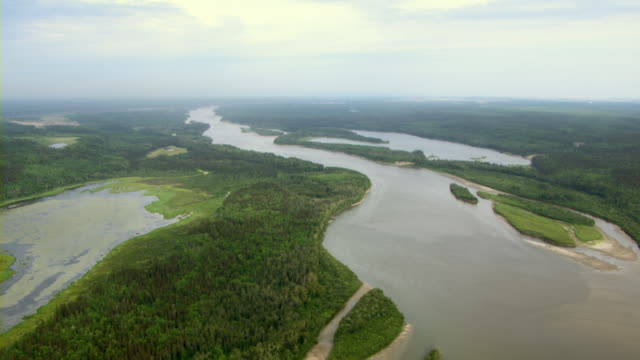 The Athabasca River flows through a dense forest near Fort McMurray, Alberta, Canada.