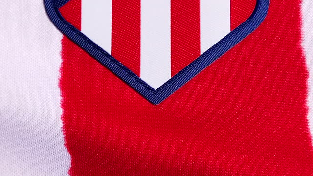 the athletico madrid home shirt displaying the club badge on june 08, 2021 in manchester, united kingdom. - shirt stock videos & royalty-free footage