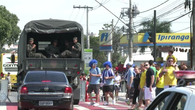 the atmosphere is relaxed for the time being at minerao stadium despite security threats surrounding the brazil uruguay match in the confederations... - horizonte stock videos & royalty-free footage