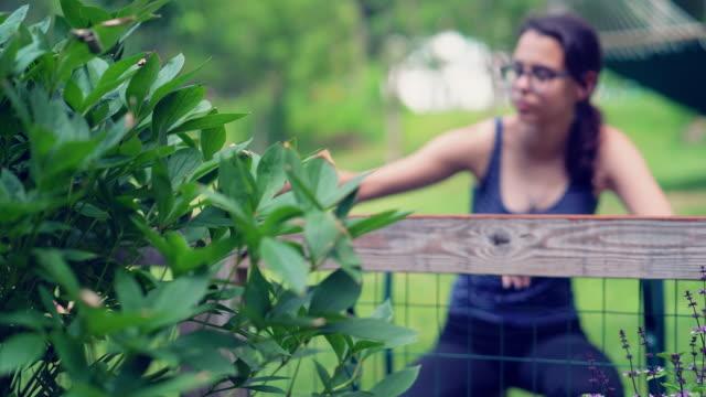 vidéos et rushes de la fille d'attrayant adolescent âgé de 15 ans, peindre la clôture à l'arrière-cour. la vidéo avec la focalisation constante de la jeune fille au premier plan - clôture jardin