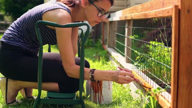 vidéos et rushes de la fille d'attrayant adolescent âgé de 15 ans, peindre la clôture à l'arrière-cour - clôture jardin