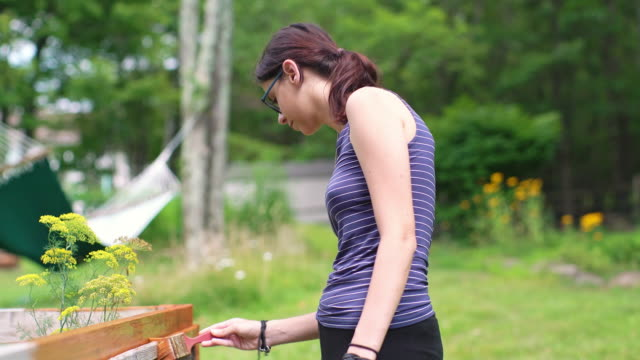 vídeos de stock e filmes b-roll de the attractive 15-years-old teenager girl painting the fence at the backyard - 14 15 years