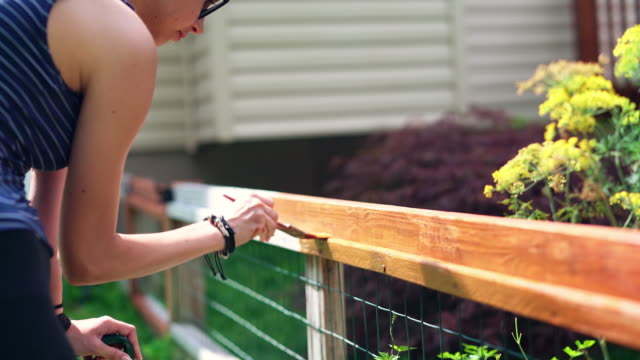 the attractive 15-years-old teenager girl painting the fence at the backyard - 14 15 years stock videos & royalty-free footage