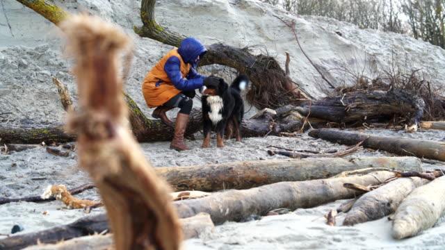 die attraktive reife 50 jahre alt frau mit der belgischen sennenhund ausruhen am strand der ostsee - 50 54 years stock-videos und b-roll-filmmaterial