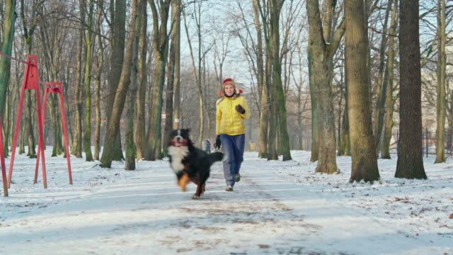 die attraktive glückliche aktive 50 jahre alte frau geht mit ihrem hund auf der allee im park - 50 54 years stock-videos und b-roll-filmmaterial