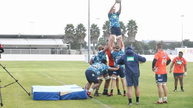 the auckland blues train during a blues super rugby training session at blues hq on july 07 2020 in auckland new zealand - blues stock videos & royalty-free footage