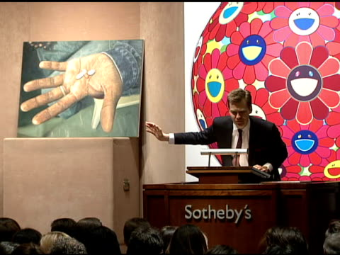 The Auction at the Bono and Damien Hirst Paint the Town Red For Aids In Africa The Auction at Sotheby's in New York New York on February 14 2008