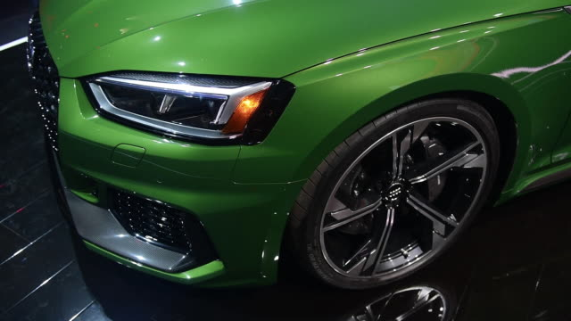 The Audi RS5 Sportback sits on display after being unveiled at an event ahead of the New York Auto Show on Tuesday March 27 2018