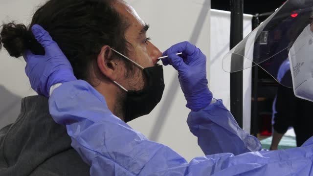 vidéos et rushes de the audience is seen getting tested for covid-19 with an antigen test before attending a concert of love of lesbian music band at sala apolo on march... - audience de festival