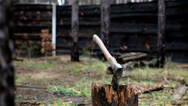the axe for chopping firewood. - firewood stock videos & royalty-free footage