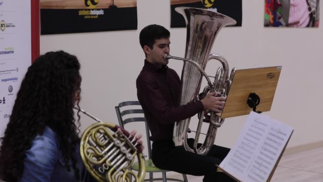 the baccarelli institute's wind quintet play during a live-stream performance to raise funds for donations at the baccarelli institute headquarters... - live broadcast stock videos & royalty-free footage