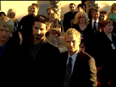 the backstreet boys at the 2005 american music awards arrivals at the shrine auditorium in los angeles, california on november 22, 2005. - backstreet boys stock videos & royalty-free footage