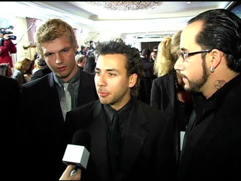 the backstreet boys at the clive davis' pregrammy awards party interviews at the beverly hilton in beverly hills california on february 13 2005 - 2005 stock-videos und b-roll-filmmaterial