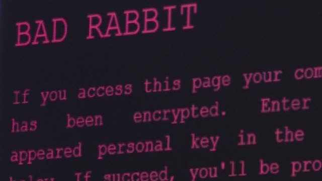 the badrabbit malware that struck ukrainian international airport and russian media outlets appears to be the largest since notpetya was launched... - computerkriminalität stock-videos und b-roll-filmmaterial