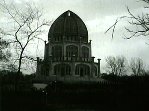 the bahá'í house of worship in wilmette illinois in 1953 - place of worship stock videos & royalty-free footage