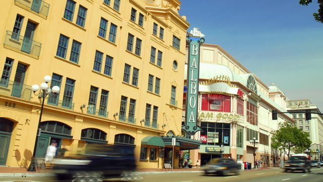 ws zo t/l the balboa theater with pedestrians and traffic / san diego, california, usa - san diego stock videos & royalty-free footage