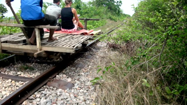 the bamboo train in cambodia - cambodia stock videos and b-roll footage