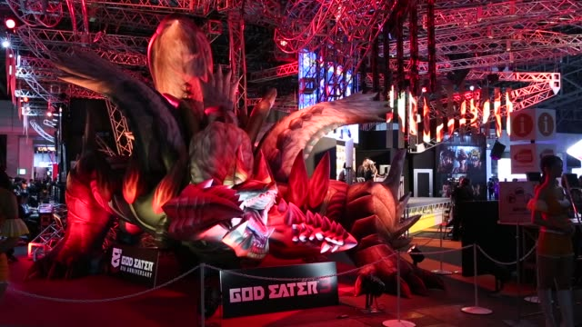 stockvideo's en b-roll-footage met the bandai namco entertainment inc. booth is seen during the tokyo game show 2018 on september 21, 2018 in chiba, japan. - television game show
