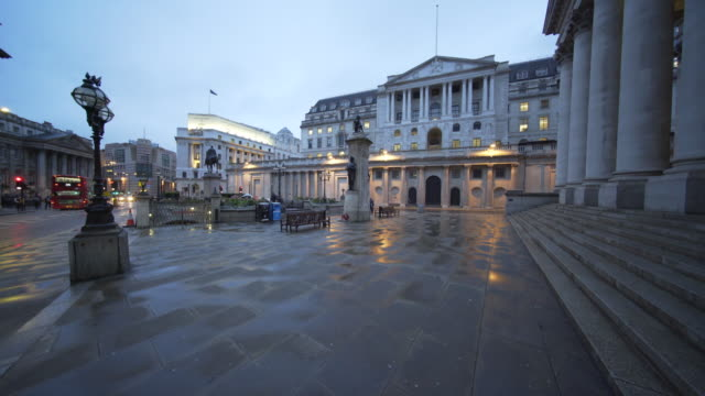 the bank of england after a rainy evening. - male likeness stock videos & royalty-free footage