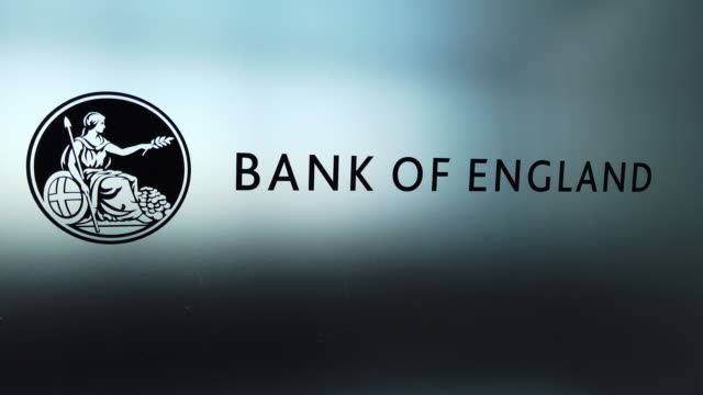 the bank of england logo is seen on a lectern at the launch event for the new twenty pound note at the turner contemporary gallery on october 10 2019... - kent england stock-videos und b-roll-filmmaterial