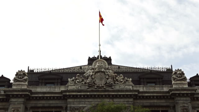 vídeos de stock e filmes b-roll de o banco de espanha-banco de espana em madrid - espanha