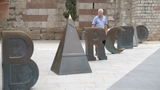 the barcino letters / barcelona, spain - gothic stock videos & royalty-free footage