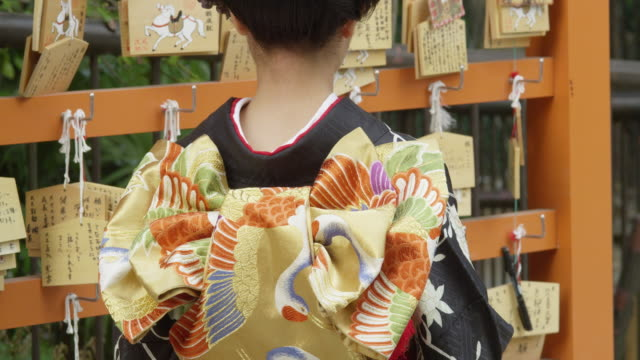 the bare nape of a woman in kimono - kimono stock videos & royalty-free footage