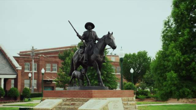 the bass reeves legacy monument bronze statue - arkansas stock videos & royalty-free footage