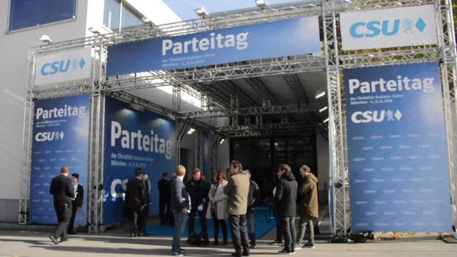 stockvideo's en b-roll-footage met the bavarian csu party opens its campaign season with a party congress with chancellor angela merkel off the guest list - clean