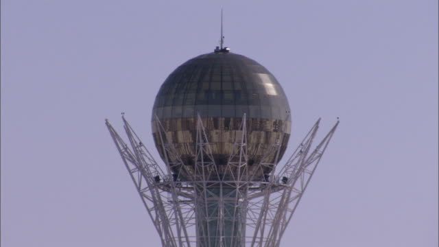 The Bayterek features a spherical observation gallery in Astana Kazakhstan. Available in HD.