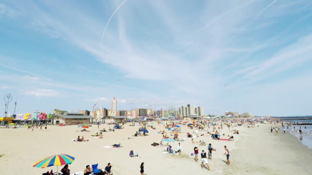 the beach at coney island. - pre adolescent child stock videos and b-roll footage